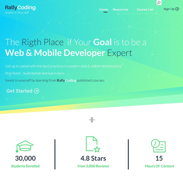 Course website with the title 'Landing page for online courses concept'