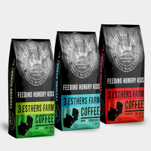 Pouch design with the title '3 Esthers farm coffee'