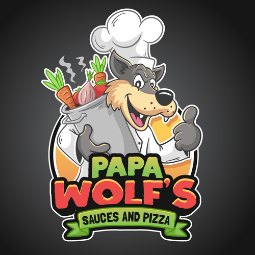 Wolf logo with the title 'Papa Wolfs logo'