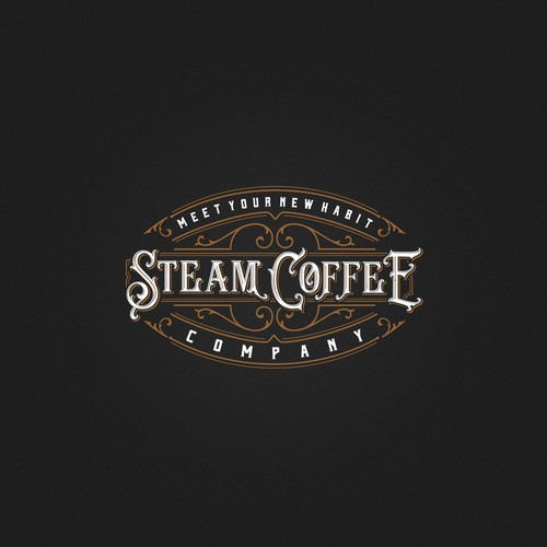 Chandelier logo with the title 'Steam Coffee'
