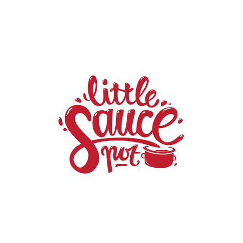 Flowing design with the title 'Playful logo for Little Sauce Pot'
