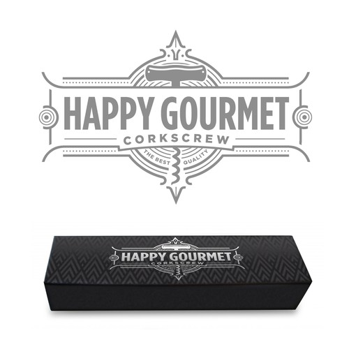 Kitchenware packaging with the title 'Happy Gourmet Corkscrew Package'