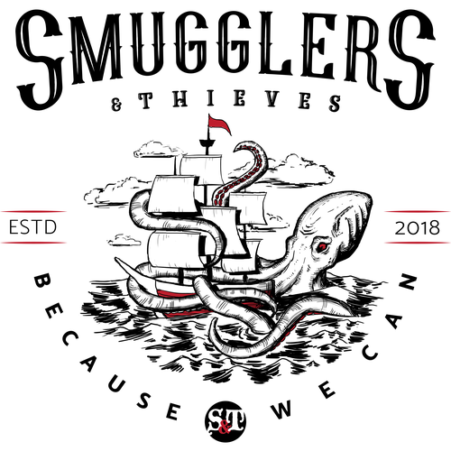 """Kraken design with the title 'Smugglers and Thieves """"Because we can"""" clothing line'"""