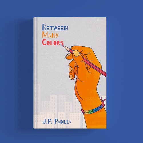 LGBT+ design with the title 'Between Many Colors Book Cover'