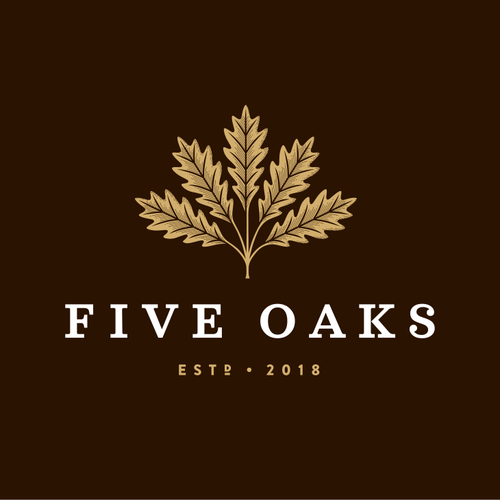 Leaf logo with the title 'Five Oaks'
