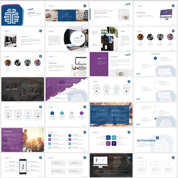 Innovative design with the title 'Multipurpose Powerpoint Presentation Template'