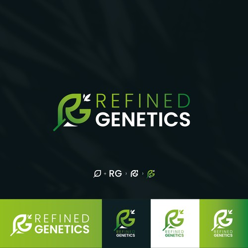 Nursery logo with the title 'Leaf Logo Concept for Refined Genetics'