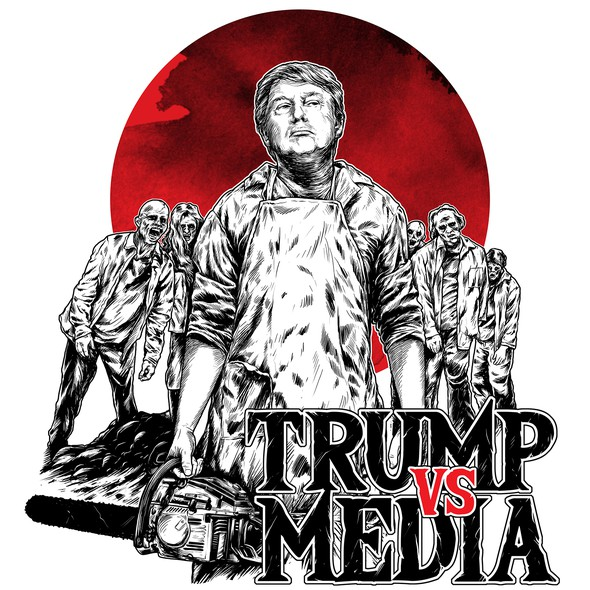 Zombie t-shirt with the title 'TRUMP vs MEDIA'