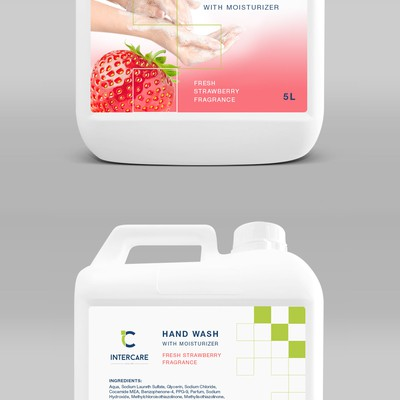Fresh Strawberry Hand Wash Label design