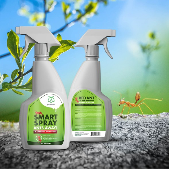 Eco label with the title 'Label design for Ant Repellent Spray'