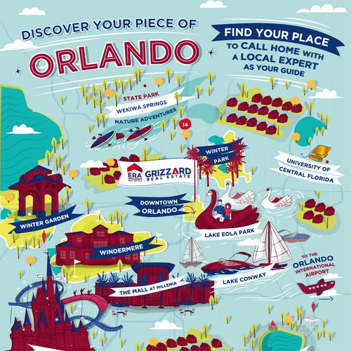 Map artwork with the title 'Fun illustrated map of Orlando for a Real Estate Company'