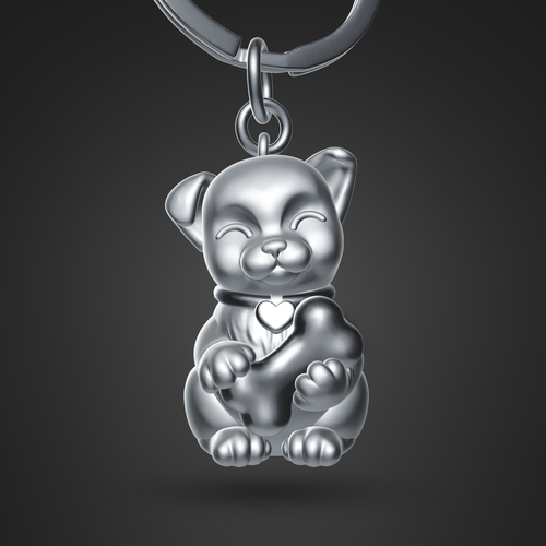 3-dimensional design with the title 'Dog Puppy 3D keychain'
