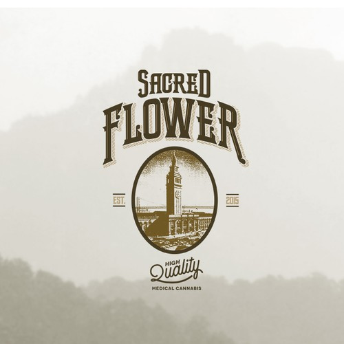 Script logo with the title 'Vintage Logo for Sacred Flower'