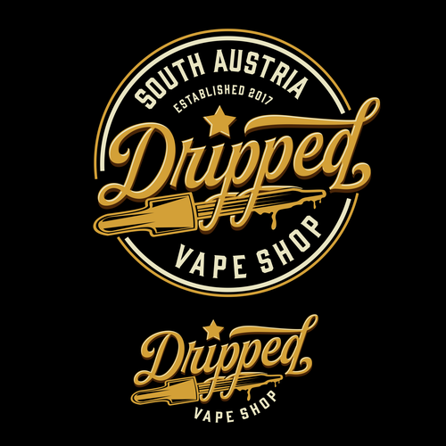 Shiny design with the title 'Dripped Vape Shop'