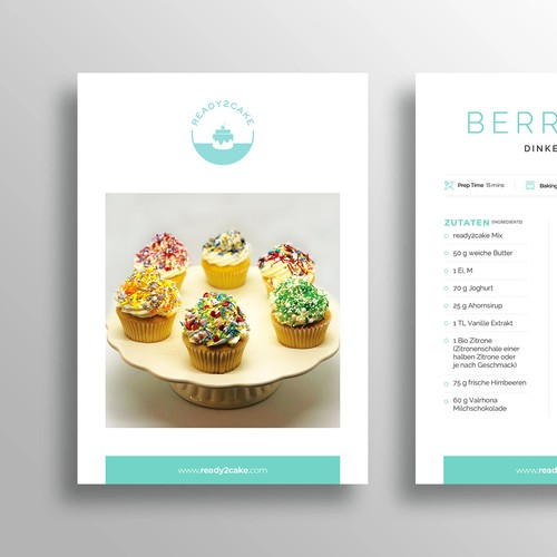 Cupcake design with the title 'Recipe Card Template for Cupcakes & Cakes'