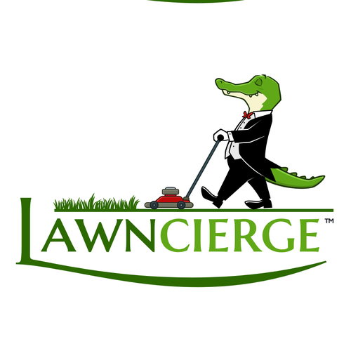 Cartoon brand with the title 'Concierge Alligator for landscaping company'