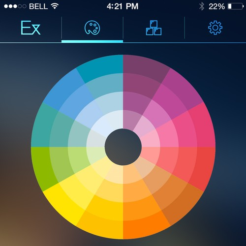 IOS 8 design with the title 'Smart lighting system IOS App Design'