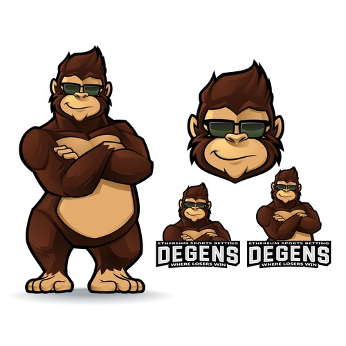 Gorilla logo with the title 'Gorilla Mascot Logo for Degens'