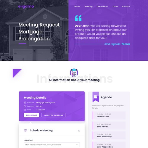 Schedule design with the title 'Meeting Schedule Landing page'