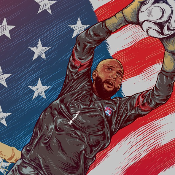 Soccer design with the title 'Illustration of USA Goalkeeper Tim Howard for World Cup'