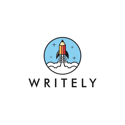 Space logo with the title 'Pencil rocket for Writely'