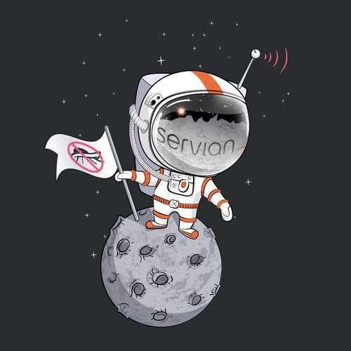 Cartoon t-shirt with the title 'Astronaut on the moon. Stop UFO'