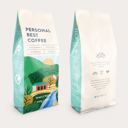 Visual design with the title 'Personal Best Coffee - Bag Design'