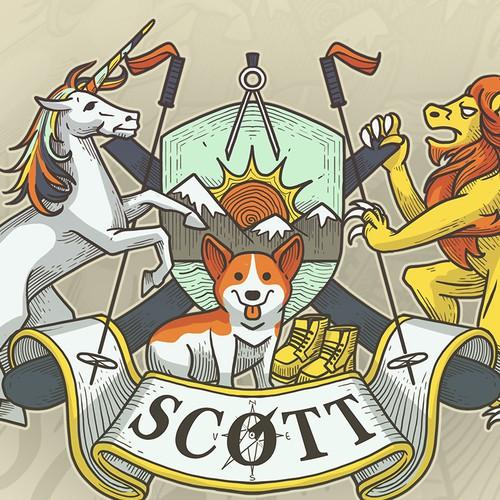 Family crest design with the title 'Scott Crest Design'