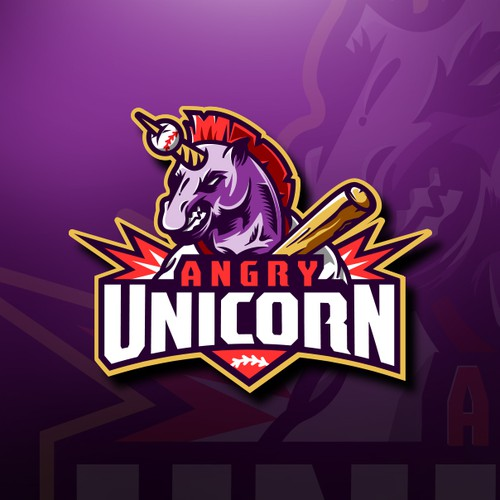 Unicorn logo with the title 'Bold Unicorn Mascot design'