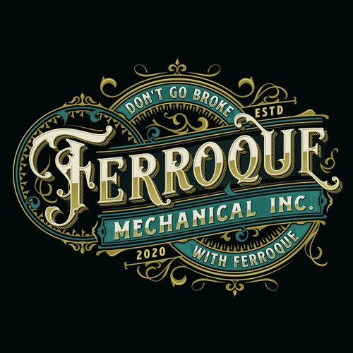 Vintage design with the title 'Ferroque Mechanical Inc.'