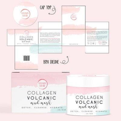 Box and label design for Collagen Volcanic Mud Mask