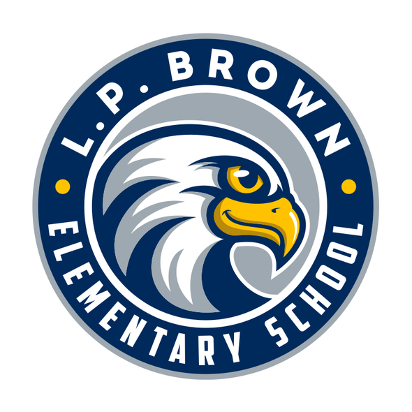 Elementary school design with the title 'Re-branding eagle logo for L.P. Brown Elementary School'