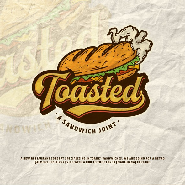 Sandwich design with the title 'Logo for fun new sandwich concept'