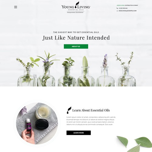 Eye-catching website with the title 'Essential oil website'