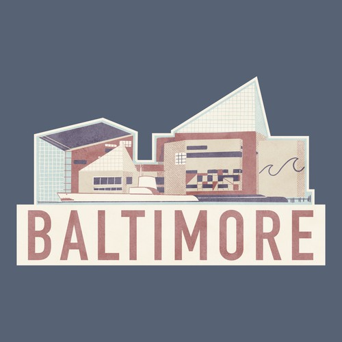 Bauhaus design with the title 'Baltimore Stickers'