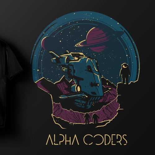 Astronaut t-shirt with the title 'Alpha Coders'