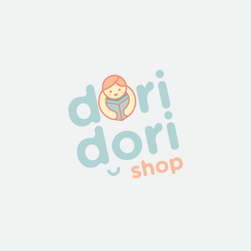 Korean design with the title 'Cute learning shop logo'