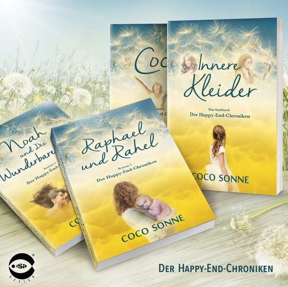 """Autobiography design with the title 'Book covers for """"Der Happy-End-Chroniken"""" series by Coco Sonne'"""