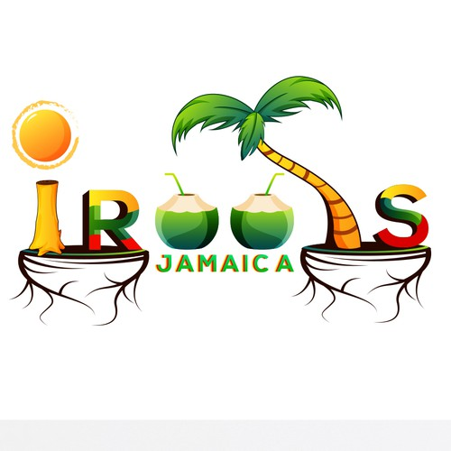 Jamaican design with the title 'IROOTS BRAND/LOGO'