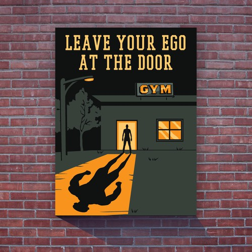 Gym design with the title 'LEAVE YOUR EGO AT THE DOOR'