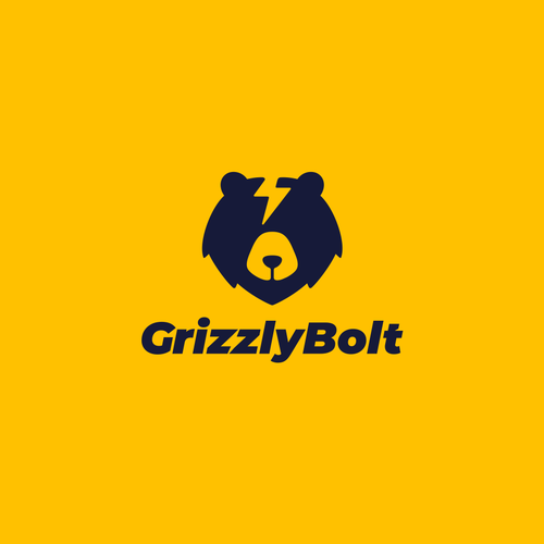 Bear logo with the title 'Grizzly Bolt Logo Design'