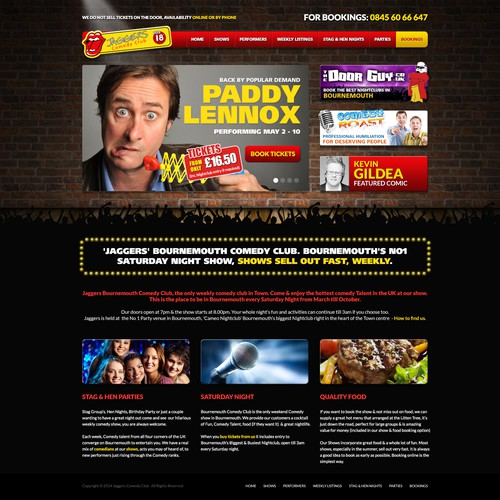 Entertainment website with the title 'Stand Up Comedy Club Website Re-Design'