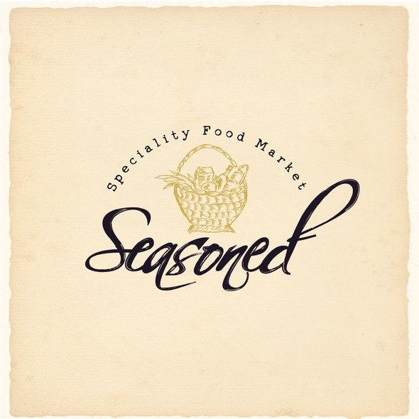 Supermarket logo with the title 'Hand-Drawn Typography and Logo for Grocery'