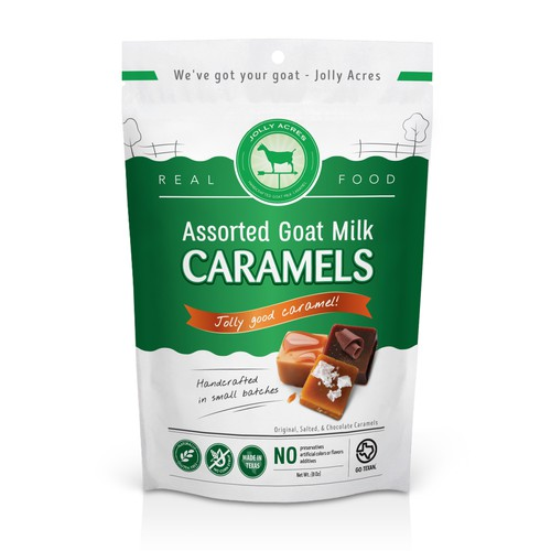 Milk design with the title 'Packaging for Jolly Coat Milk Caramels'