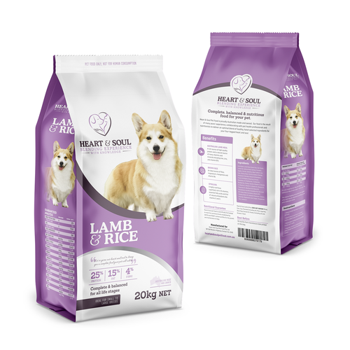 Dog food packaging with the title 'Packaging Design for Pet Food'
