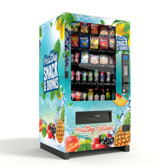 Vending machine design with the title 'Healthy Vending Machine Wrap'