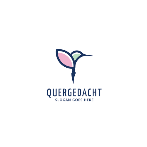 Hummingbird logo with the title 'Logo concept for Quergedacht'