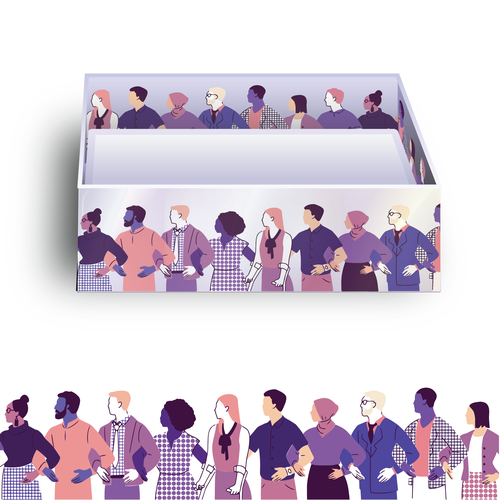 Community illustration with the title 'Original illustration for business card packaging '