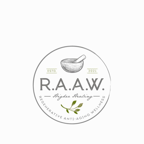 Earthy logo with the title 'Logo Design for R.A.A.W'