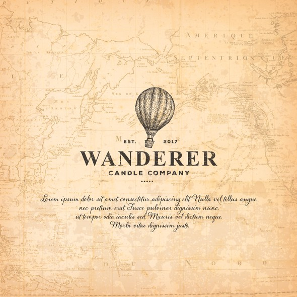 Hot air balloon logo with the title 'Wanderer Candle Company'